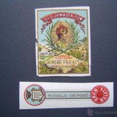 Etiquetas antiguas: ETIQUETA DE RON MULATA (OLD JAMAICA RHUM ) - ALBERU FILS & CO - 1898 - GIJON ( ASTURIAS ) Y COGNAC . Lote 39442702