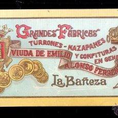 Etiquetas antiguas: ETIQUETA LITOGRAFIADA DE TURRONES, MAZAPANES Y CONFITURAS VIUDA DE EMILIO ALONSO FERRERO. LA BAÑEZA.. Lote 39469816