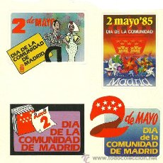 Etiquetas antiguas: CUATRO ADHESIVOS SOBRE EL DÍA DE LA COMUNIDAD DE MADRID - AÑO 1985. Lote 40180117