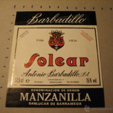 Etiquetas antiguas: ETIQUETA VINO: BARBADILLO. FINA VIEJA. SOLEAR. ANTONIO BARBADILLO. MANZANILLA SANLUCAR BARRAMEDA. Lote 40359257