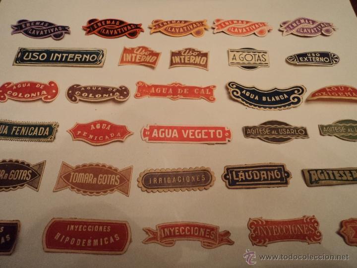 Etiquetas antiguas: ETIQUETAS ANTIGUAS DE FARMACIA - LOTE DE 50 - Foto 2 - 210219796