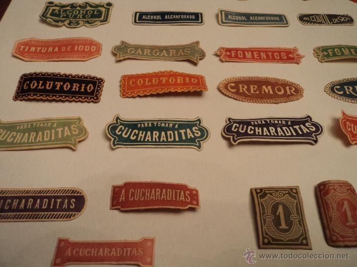 Etiquetas antiguas: ETIQUETAS ANTIGUAS DE FARMACIA - LOTE DE 50 - Foto 5 - 210219796