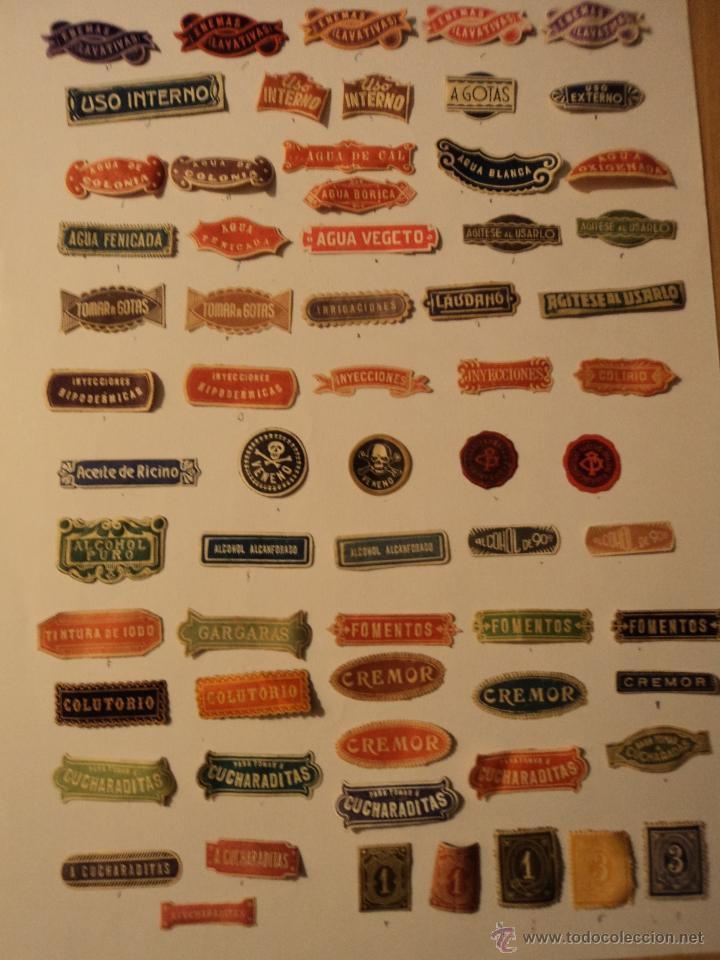 Etiquetas antiguas: ETIQUETAS ANTIGUAS DE FARMACIA - LOTE DE 50 - Foto 7 - 210219796