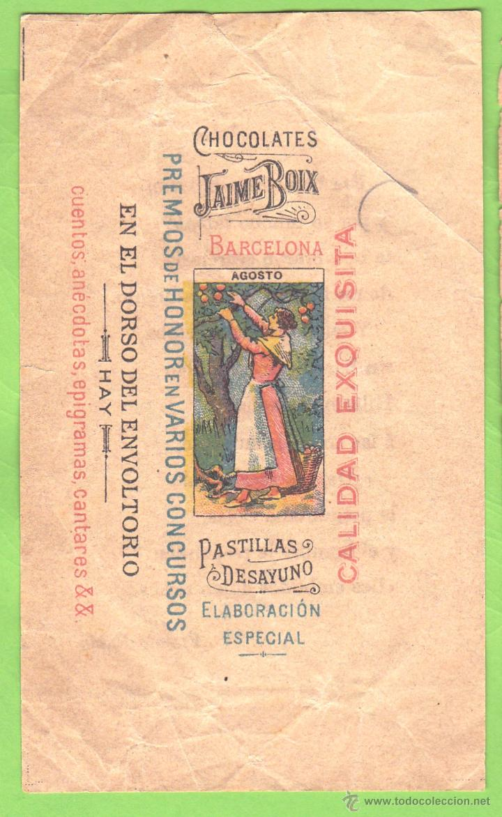 ENVOLTORIO CHOCOLATINA CHOCOLATE CHOCOLATES JAIME BOIX. AGOSTO. (Coleccionismo - Etiquetas)