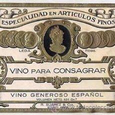 Etiquetas antiguas: ANTIGUA ETIQUETA VINO PARA CONSAGRAR. VINO GENEROSO ESPAÑOL. LEDA AÑOS 20 ( RELIEVE DORADO ). Lote 22529168