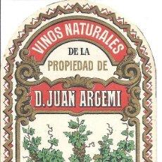 Etiquetas antiguas: PS3417 ETIQUETA DE VINOS NATURALES D. JUAN ARGEMI - ARRABAL SABADELL - PRINC. S. XX. Lote 41690578