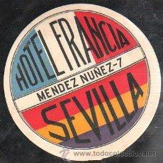Etiquetas antiguas: ETIQUETA HOTEL FRANCIA DE SEVILLA. ETIQUETA REPUBLICA. 12CM DIAMETRO. Lote 42071670