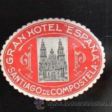 Etiquetas antiguas: ETIQUETA DEL GRAN HOTEL ESPAÑA. SANTIAGO DE COMPOSTELA, A CORUÑA. 9.5 X 7CM.. Lote 42096182