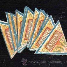 Etiquetas antiguas: LOTE DE 45 ETIQUETAS ENVOLTORIOS DE CARAMELOS EXOUIX. LEON. 2CM.. Lote 42100989
