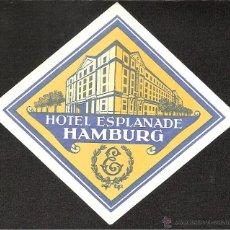 Etiquetas antiguas: ETIQUETA HOTEL ALEMANIA HOTEL NESPLANADE-HAMBURG-HAMBURGO. Lote 42211489
