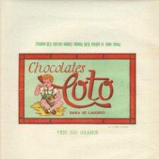 Etiquetas antiguas: LOTE DE ETIQUETAS DE CHOCOLATES ANTIGUOS VER DETALLE. Lote 42243502