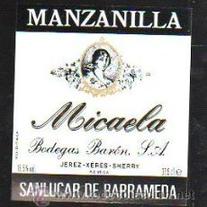 Etiquetas antiguas: ETIQUETA DE MANZANILLA MICAELA. BODEGAS BARON S.A. JEREZ. SANLUCAR DE BARRAMEDA. 8 X 9CM. Lote 42468149