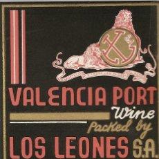 Etiquetas antiguas: ETIQUETA ,-VALENCIA PORT WINE -LOS LEONES, VALENCIA . Lote 42499488