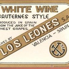Etiquetas antiguas: ETIQUETA ,-WHITE WINE SAUTERNES STYLE -LOS LEONES, VALENCIA . Lote 42499707