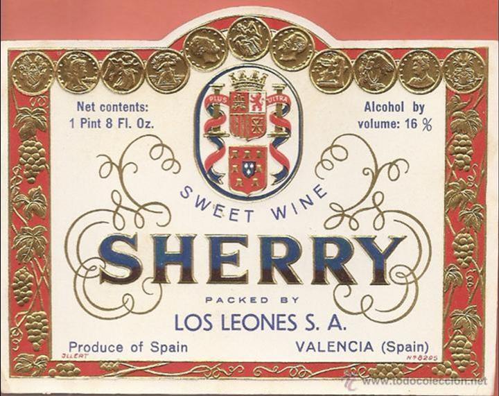 ETIQUETA ,-SWEET WINE SHERRY -LOS LEONES, VALENCIA (RELIEVE) (Coleccionismo - Etiquetas)