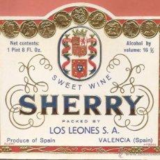 Etiquetas antiguas: ETIQUETA ,-SWEET WINE SHERRY -LOS LEONES, VALENCIA (RELIEVE). Lote 42499951