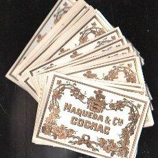 Etiquetas antiguas: LOTE DE 50 ETIQUETAS. PARA COMERCIANTES Y CAMBISTAS. COGNAC. MAQUEDA Y CIA.. Lote 42825595