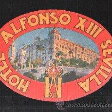 Etiquetas antiguas: ETIQUETA HOTEL ALFONSO XIII. SEVILLA. 13CM.. Lote 43217509