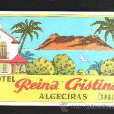 Etiquetas antiguas: ETIQUETA HOTEL REINA CRISTINA. ALGECIRAS. CADIZ. 14 X 10CM.. Lote 43217635