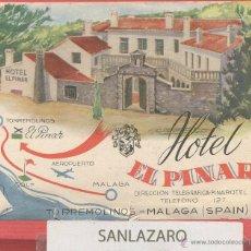 Etiquetas antiguas: ETIQUETA DE HOTEL - *HOTEL EL PINAR* -TORREMOLINOS, MÁLAGA - COSTA DEL SOL, ESPAÑA- EH097. Lote 43781682