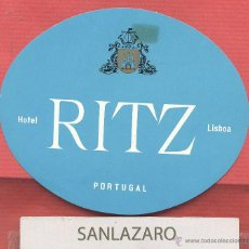 Etiquetas antiguas: ETIQUETA DE HOTEL - *HOTEL RITZ* - LISBOA - PORTUGAL - EH495. Lote 43891155