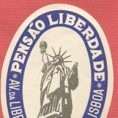 Etiquetas antiguas: ETIQUETA DE HOTEL - *PENSÃO LIBERDADE* - LISBOA - PORTUGAL - EH496. Lote 43891686