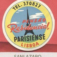 Etiquetas antiguas: ETIQUETA HOTEL - PENSAO RESIDENCIAL PARISIENSE - LISBOA - PORTUGAL - EH516. Lote 43903449