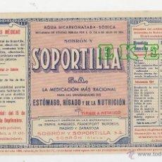 Etiquetas antiguas: ANTIGUA ETIQUETA DE AGUA BICARBONADA SODICA - SOBRON Y SOPORTILLA S.A.. Lote 96113830