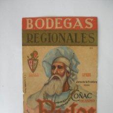 Etiquetas antiguas: ANTIGUA ETIQUETA BODEGAS REGIONALES COÑAC RECTOR JEREZ DE LA FRONTERA - ORIGINAL. Lote 65747354
