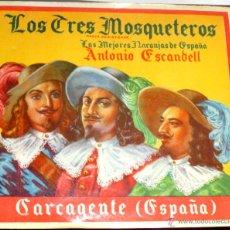 Etiquetas antiguas: PRECIOSA ETIQUETA PUBLICIDAD NARANJAS ANTONIO ESCANDELL CARCAGENTE. Lote 43978423