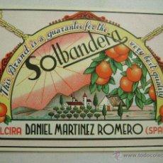 Etiquetas antiguas: ETIQUETA DE NARANJAS. SOLBANDERA E-160. Lote 49611312