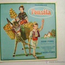 Etiquetas antiguas: ETIQUETA DE NARANJAS PONSITA.E-168. Lote 43999114
