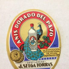 Etiquetas antiguas: ETIQUETA ANIS DORADO DEL PAVO. DESTILERIAS J.SELGA TORRAS, MANRESA MIDE 9X7CM. Lote 44063186