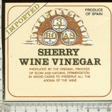 Etiquetas antiguas: ETIQUETA VINO SHERRY WINE VINEGAR . Lote 44889607