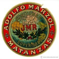 Etiquetas antiguas: ETIQUETA FABRICA ADOLFO MARZOL ACEITUNA SUPERIORES JMR. MATANZAS (CUBA) CIRCA 1900. Lote 45066743