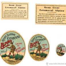 Etiquetas antiguas: CONJUNTO DE 5 ETIQUETAS QUE 'VESTÍAN' LAS BOTELLAS DEL ESTOMACAL ALPINO. ARENYS DE MUNT. Lote 45132351