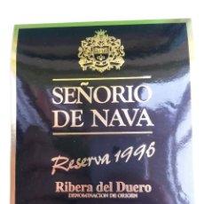 Etiquetas antiguas: ETIQUETA DE VINO RIBERA DEL DUERO ,SEÑORIO DE NAVA RESERVA 1996. Lote 45159330