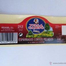 Etiquetas antigas: ETIQUETA PEGATINA ESPARRAGOS CORTOS PELADOS, VILLA CAMPO. Lote 45378919