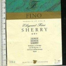 Etiquetas antiguas: ETIQUETA VINO FINO SHERRY DRY JEREZ. Lote 45579758