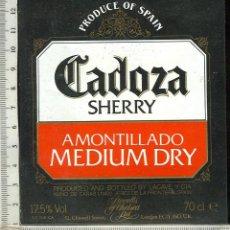 Etiquetas antiguas: ETIQUETA VINO CADOZA SHERRY AMONTILLADO MEDIUM DRY. Lote 45579773