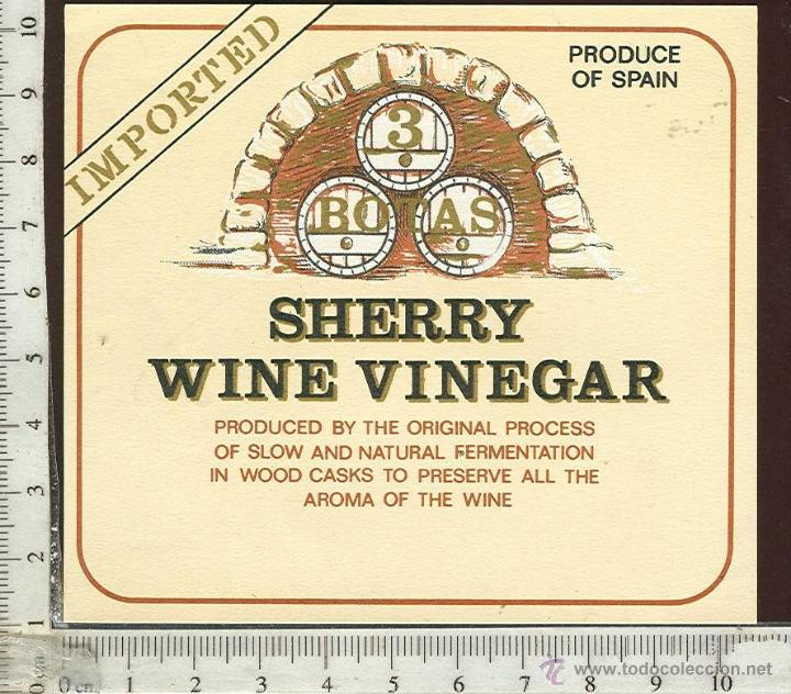 ETIQUETA VINO SHERRY WINE VINEGAR (Coleccionismo - Etiquetas)