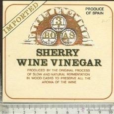 Etiquetas antiguas: ETIQUETA VINO SHERRY WINE VINEGAR . Lote 45580448
