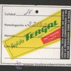 Etiquetas antiguas: ANTIGUA ETIQUETA ROPA TEJIDO TERGAL. Lote 45889988