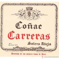 Etiquetas antiguas: ETIQUETA COÑAC CARRERAS ESTAMPA COMERCIAL ANTIGUA. Lote 46210549