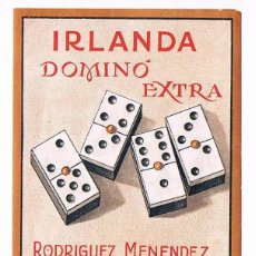 Etiquetas antiguas: ETIQUETA IRLANDA DOMINÓ EXTRA RODRÍGUEZ MENÉNDEZ ESTAMPA COMERCIAL ANTIGUA. Lote 46210792