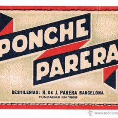 Etiquetas antiguas: ETIQUETA PONCHE PARERA ESTAMPA COMERCIAL ANTIGUA. Lote 46211081