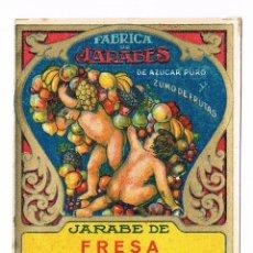 Etiquetas antiguas: ETIQUETA BEBIDA JARABE DE FRESA FABRICA DE JARABES JOSE BAIXAULI BENETUSER ANTIGUA. Lote 46317250