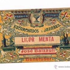 Etiquetas antiguas: ETIQUETA BEBIDA LICOR MENTA FABRICA DE LICORES ESCARCHADOS Y JARABES JOSÉ BAIXAULI BENETUSER PEQUEÑA. Lote 46317376