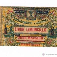 Etiquetas antiguas: ETIQUETA BEBIDA LIMONCILLO FABRICA LICORES ESCARCHADOS Y JARABES JOSÉ BAIXAULI BENETUSER PEQUEÑA. Lote 46317431
