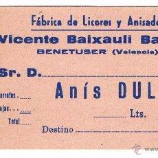 Etiquetas antiguas: ANTIGUA ETIQUETA BEBIDA ANÍS DULCE FÁBRICA DE LICORES Y ANISADOS VICENTE BAIXAULI BENETUSER. Lote 46317501